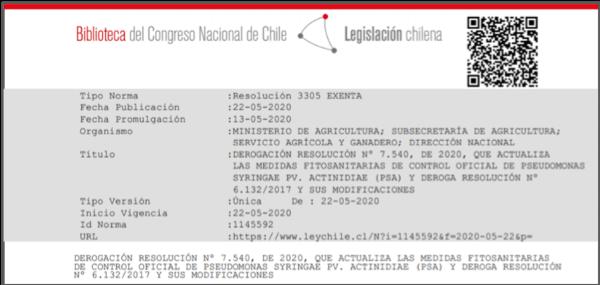 Foto 2: Resolución N° 3305 Exenta, de derogación de Control Oficial de Psa, publicada el 22 de mayo en diario Oficial.